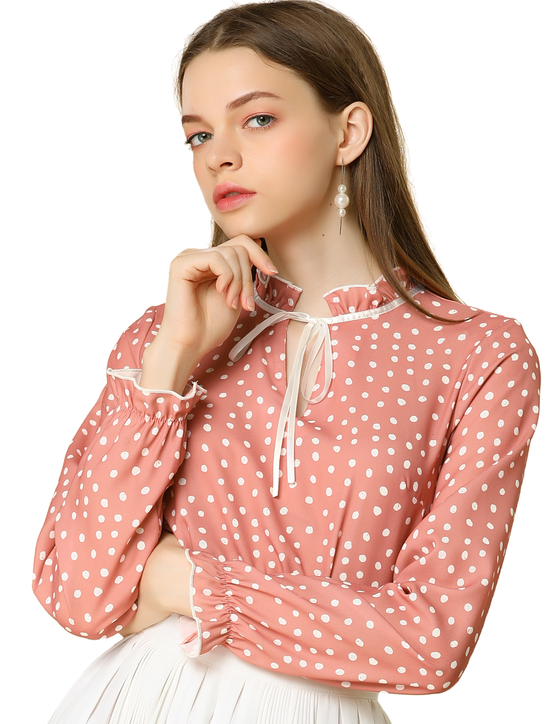 Allegra K Women's Tie Ruffled Neck Polka Dots Blouse Bell Sleeves Tops Pink XS