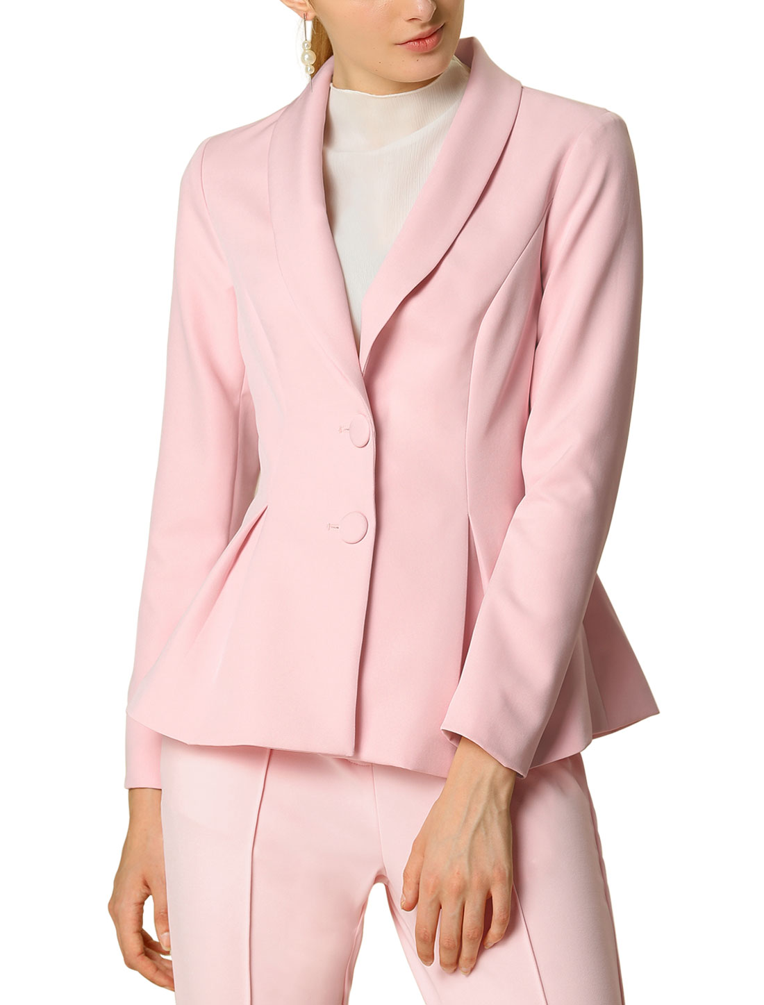 Women's Casual Lapel Collar Elegant Button Work Office Blazer Pink S (US 6)
