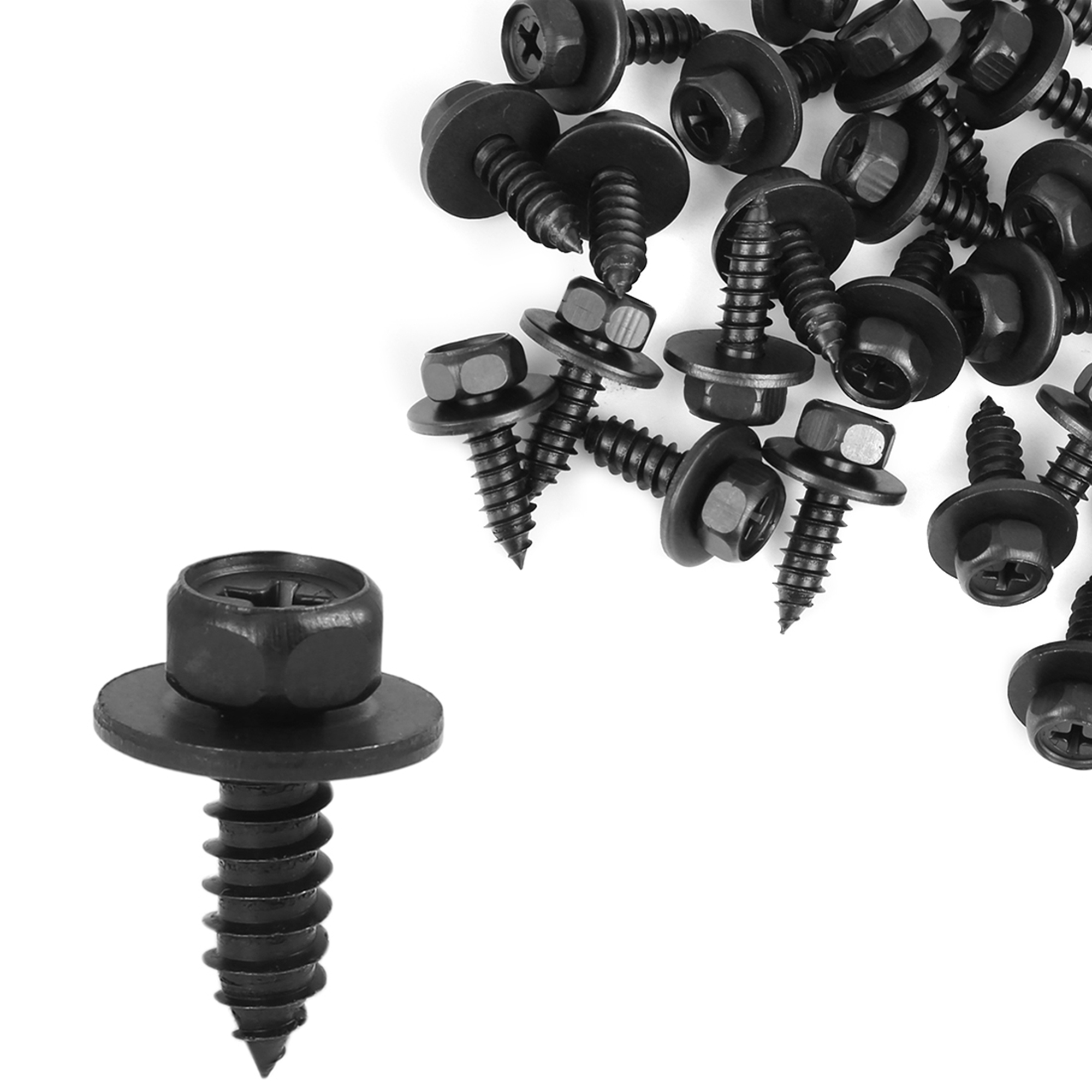 25pcs Hex Head Screw with Washer Black 90159-60498 for Toyota