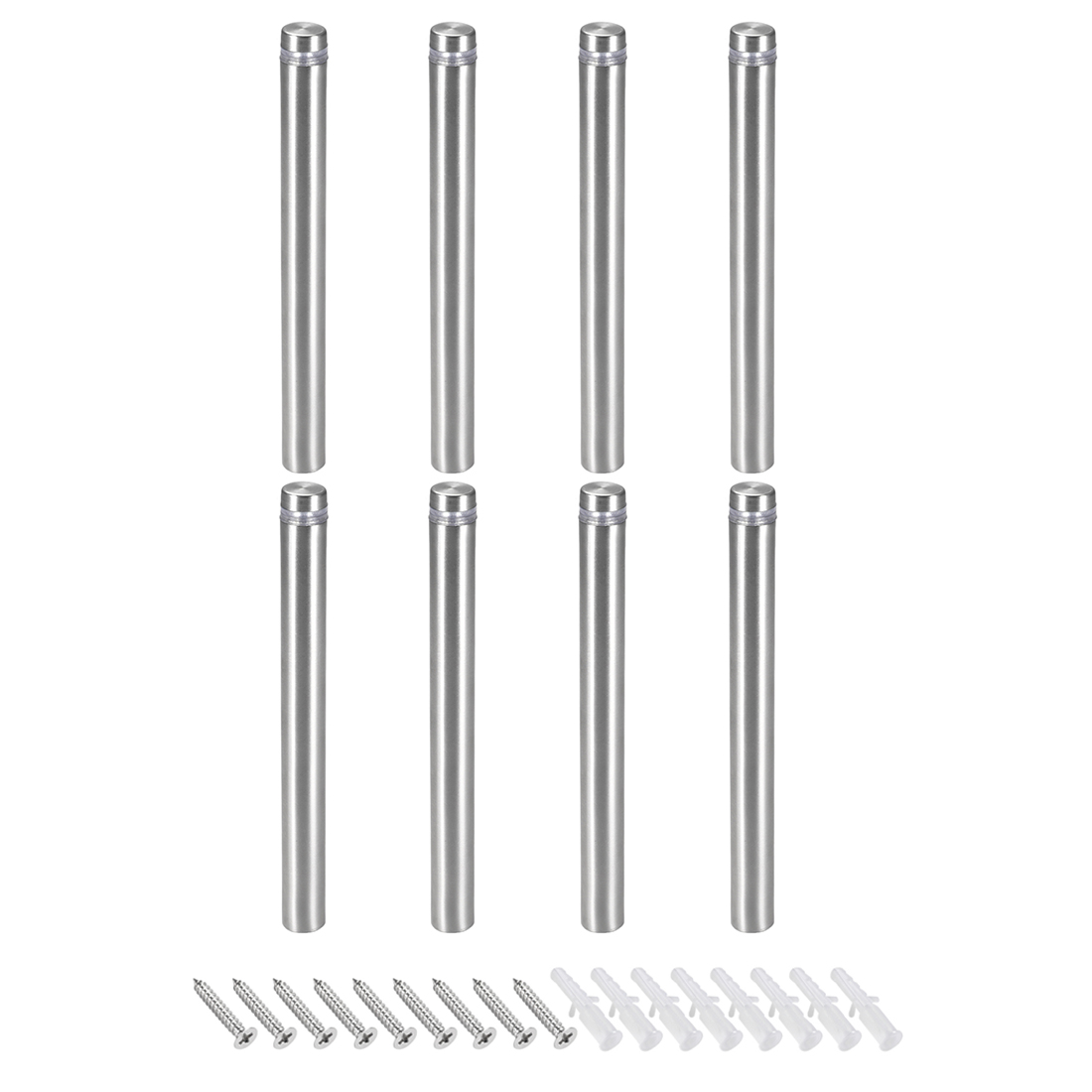Glass Standoff Mount Stainless Steel Wall Standoff 12mm Dia 123mm Length 8 Pcs