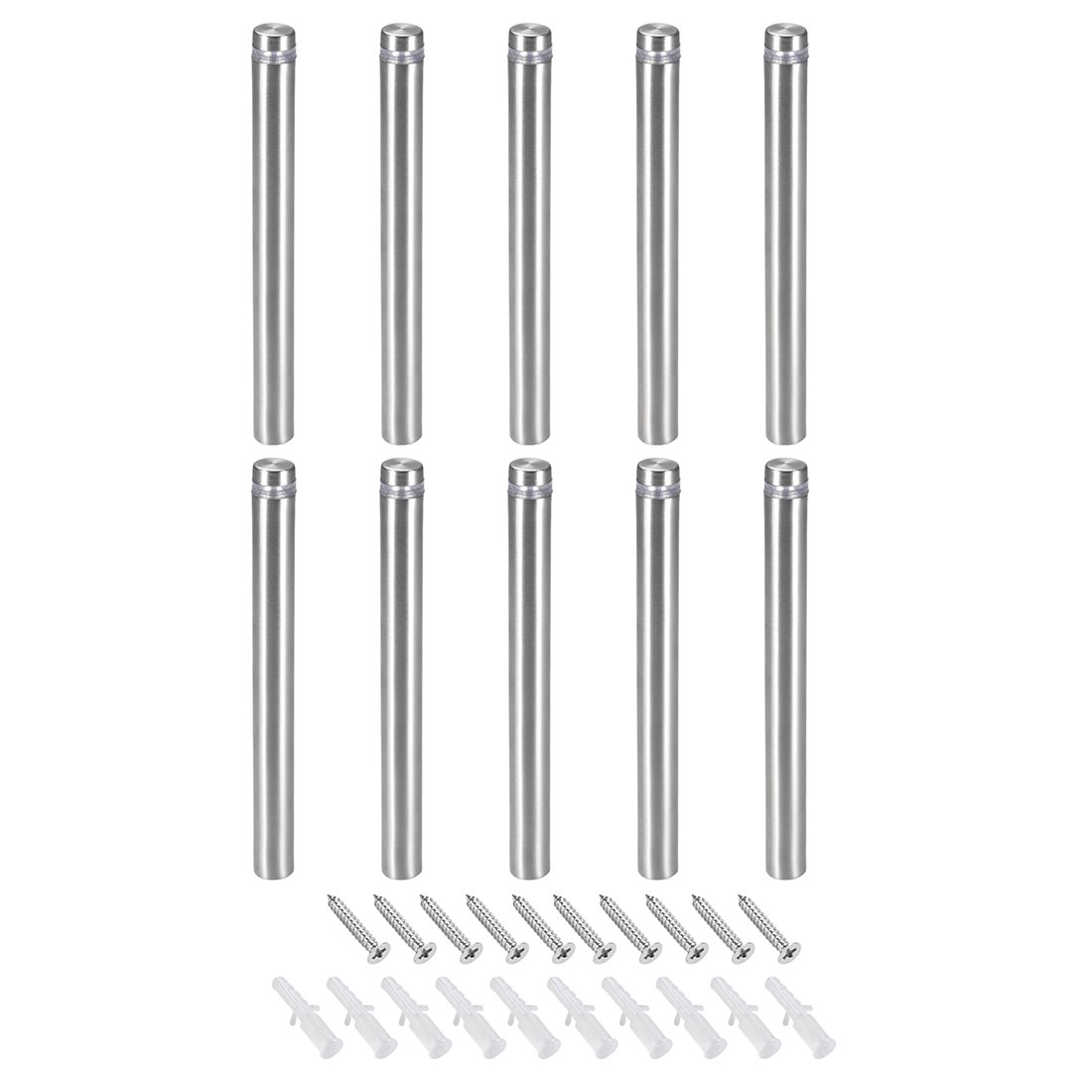 Glass Standoff Mount Stainless Steel Wall Standoff 12mm Dia 123mm Length 10 Pcs