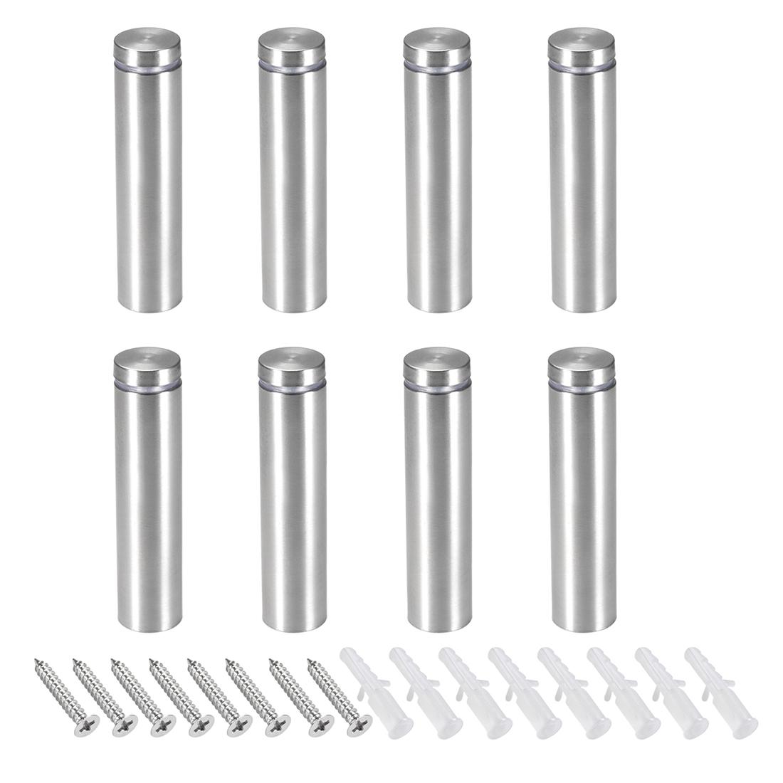 Glass Standoff Mount Stainless Steel Wall Standoff 19mm Dia 82mm Length 8 Pcs