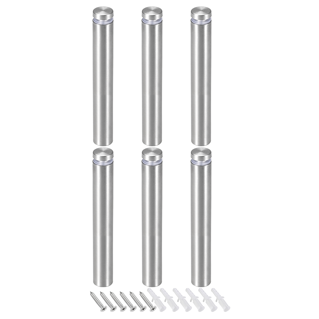 Glass Standoff Mount Stainless Steel Wall Standoff 19mm Dia 122mm Length 6 Pcs