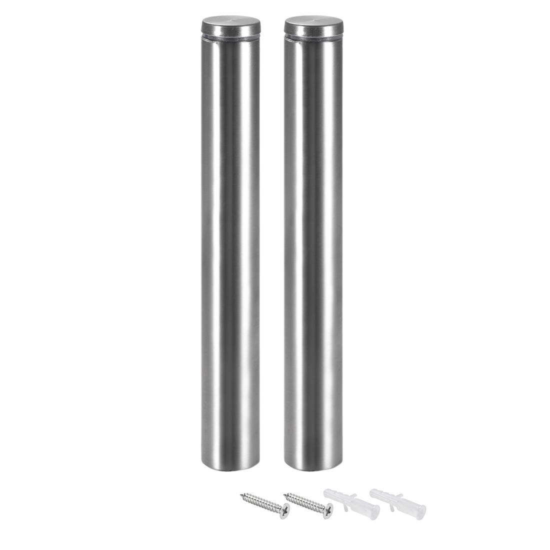 Glass Standoff Mount Stainless Steel Wall Standoff 25mm Dia 202mm Length 2Pcs