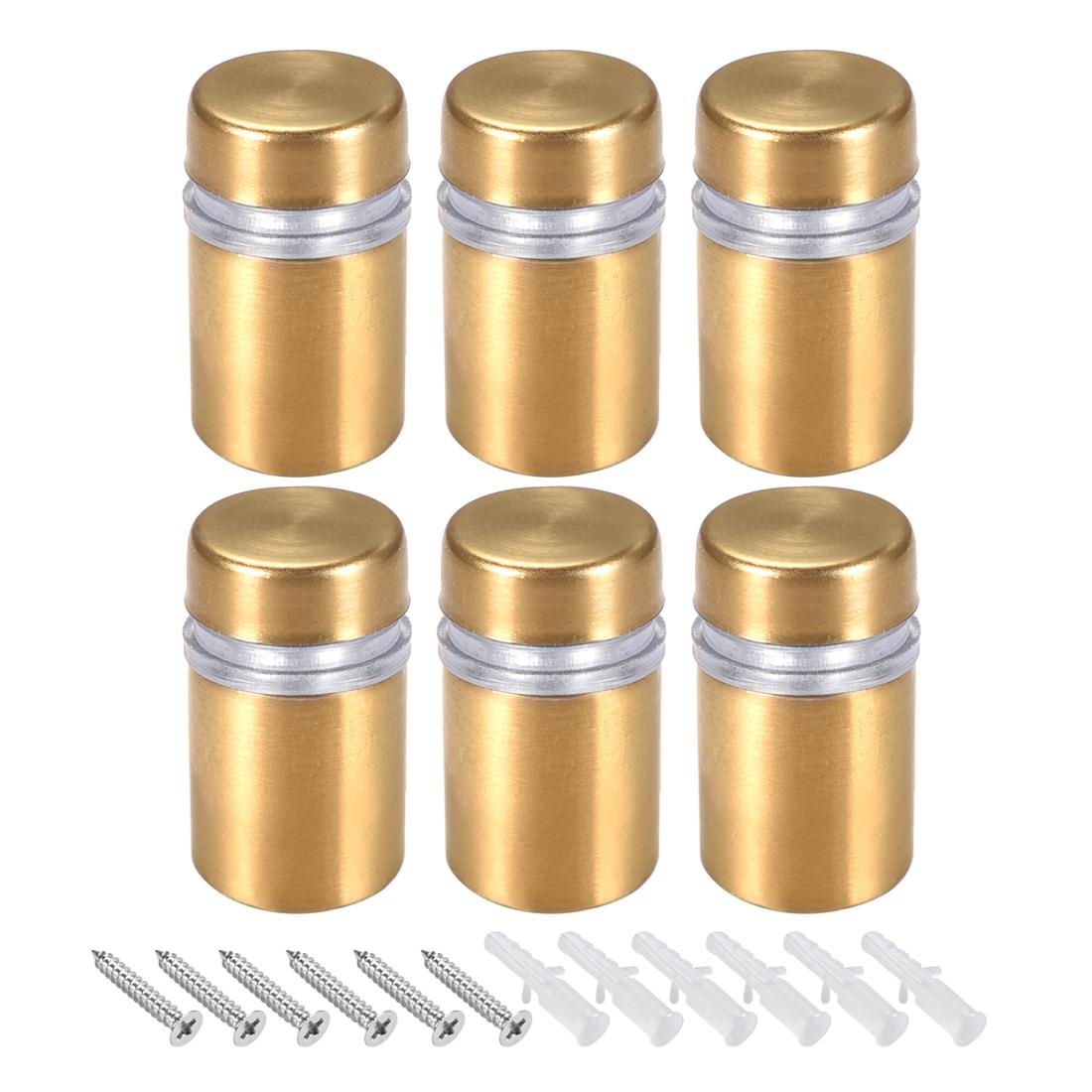 Glass Standoff Mount Wall Standoff Nails 12mm Dia 23mm Length Golden 6 Pcs