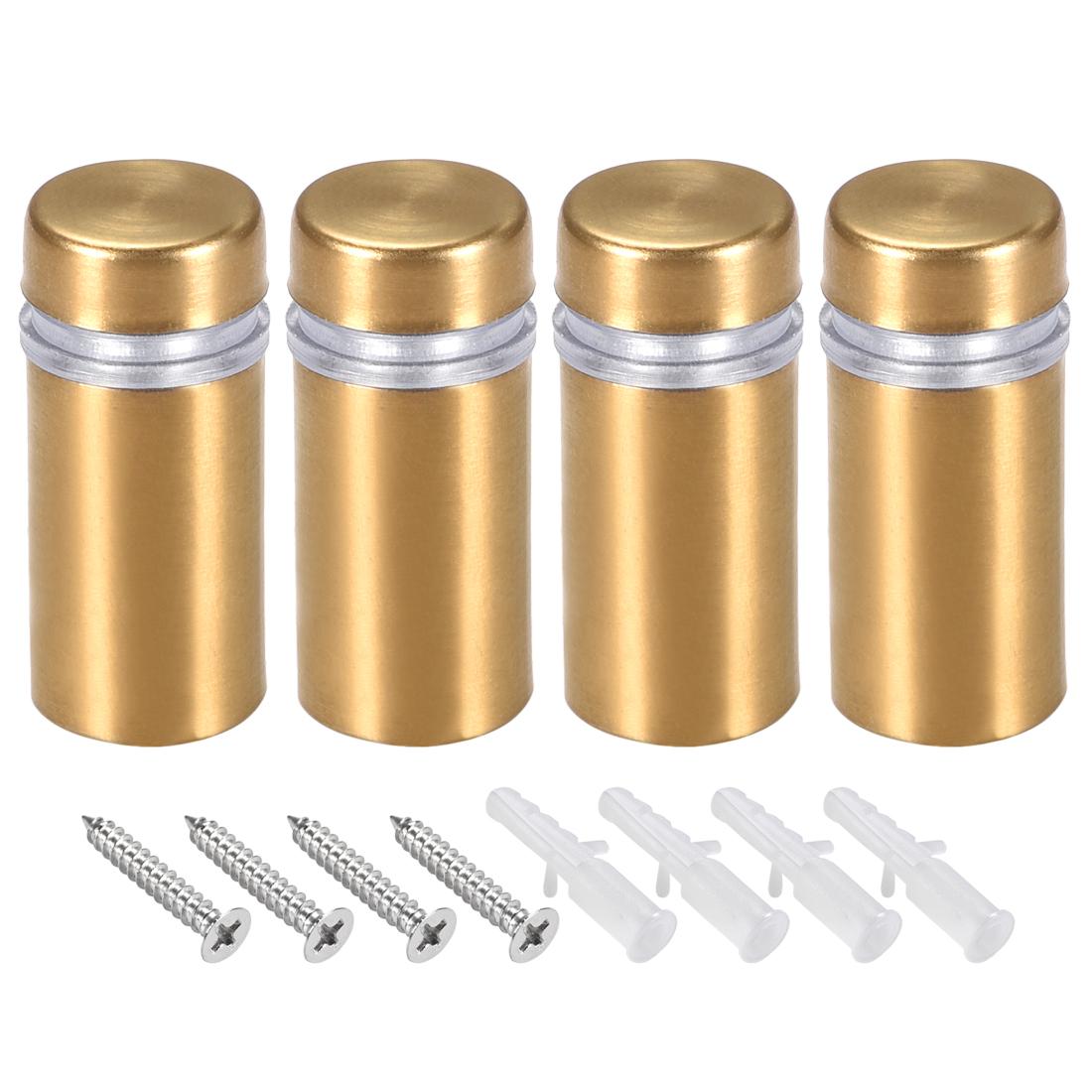 Glass Standoff Mount Wall Standoff Nails 12mm Dia 28mm Length Golden 4 Pcs