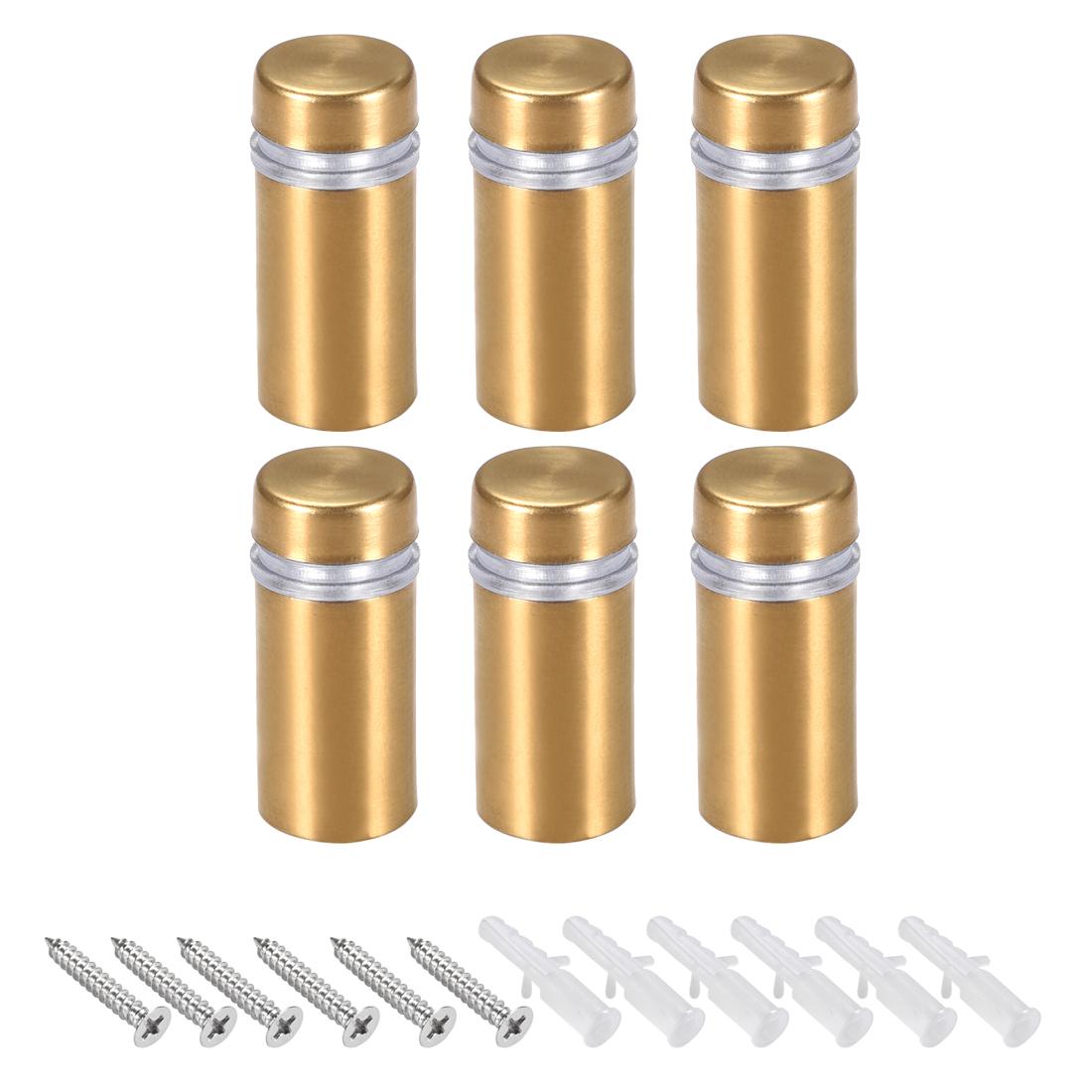 Glass Standoff Mount Wall Standoff Nails 12mm Dia 28mm Length Golden 6 Pcs