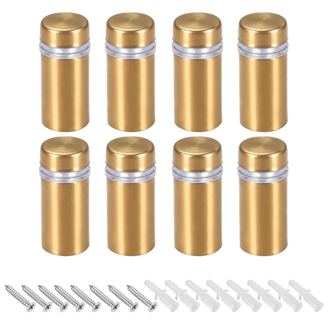 Glass Standoff Mount Wall Standoff Nails 12mm Dia 28mm Length Golden 8 Pcs