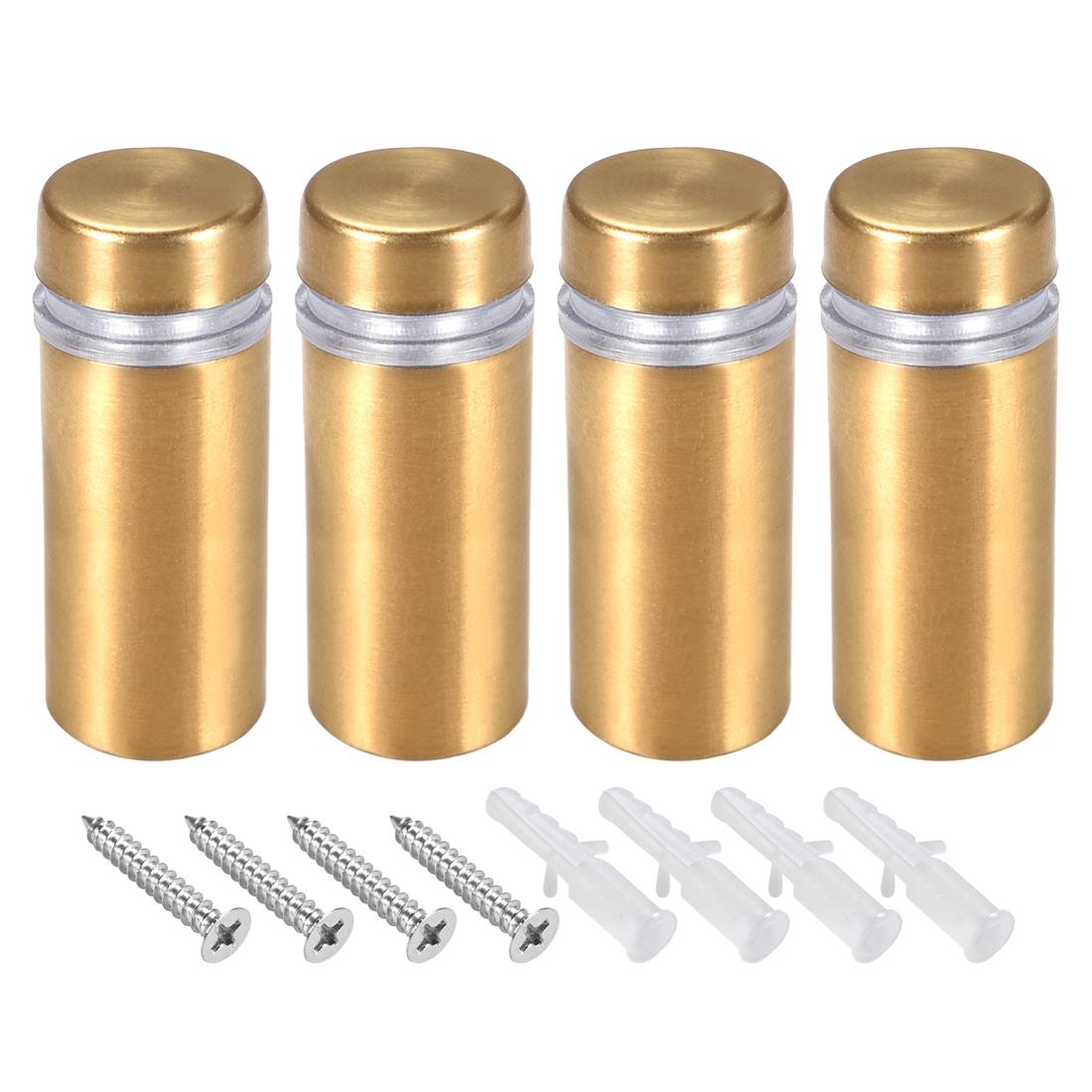 Glass Standoff Mount Wall Standoff Nails 12mm Dia 32mm Length Golden 4 Pcs