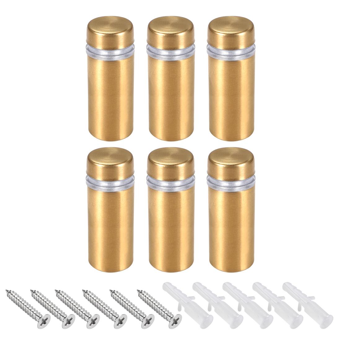 Glass Standoff Mount Wall Standoff Nails 12mm Dia 32mm Length Golden 6 Pcs