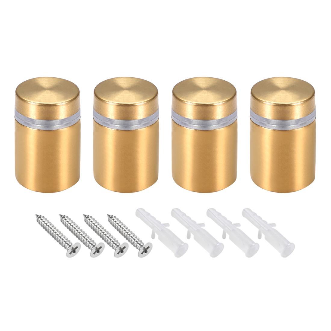 Glass Standoff Mount Wall Standoff Nails 16mm Dia 28mm Length Golden 4 Pcs