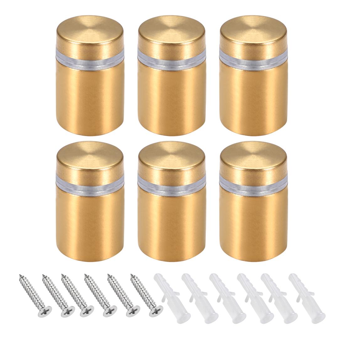 Glass Standoff Mount Wall Standoff Nails 16mm Dia 28mm Length Golden 6 Pcs