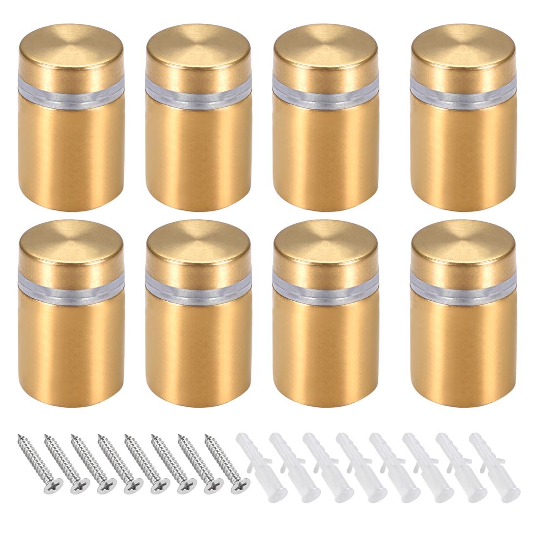 Glass Standoff Mount Wall Standoff Nails 16mm Dia 28mm Length Golden 8 Pcs