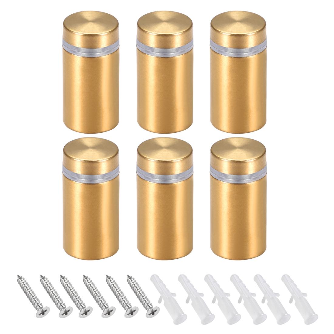 Glass Standoff Mount Wall Standoff Nails 16mm Dia 32mm Length Golden 6 Pcs