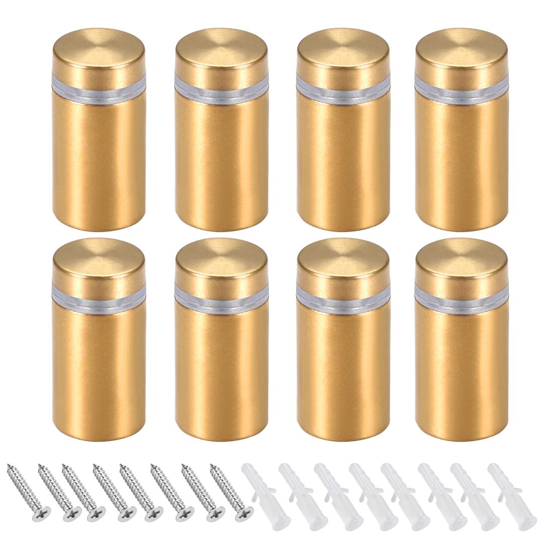 Glass Standoff Mount Wall Standoff Nails 16mm Dia 32mm Length Golden 8 Pcs
