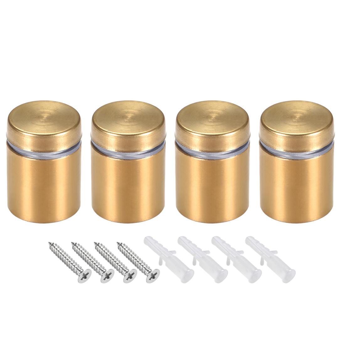 Glass Standoff Mount Wall Standoff Nails 19mm Dia 26mm Length Golden 4 Pcs