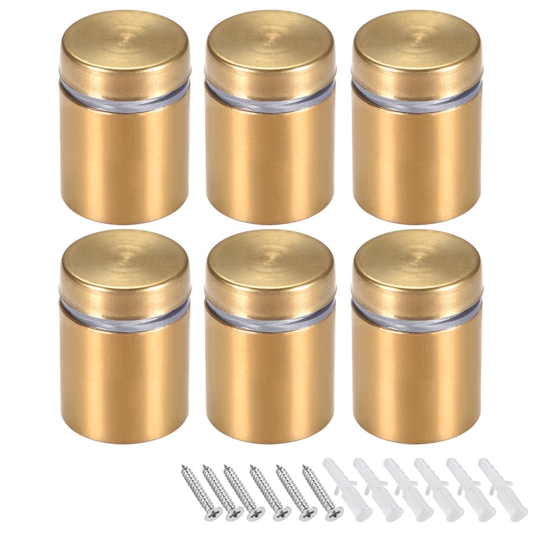 Glass Standoff Mount Wall Standoff Nails 19mm Dia 26mm Length Golden 6 Pcs