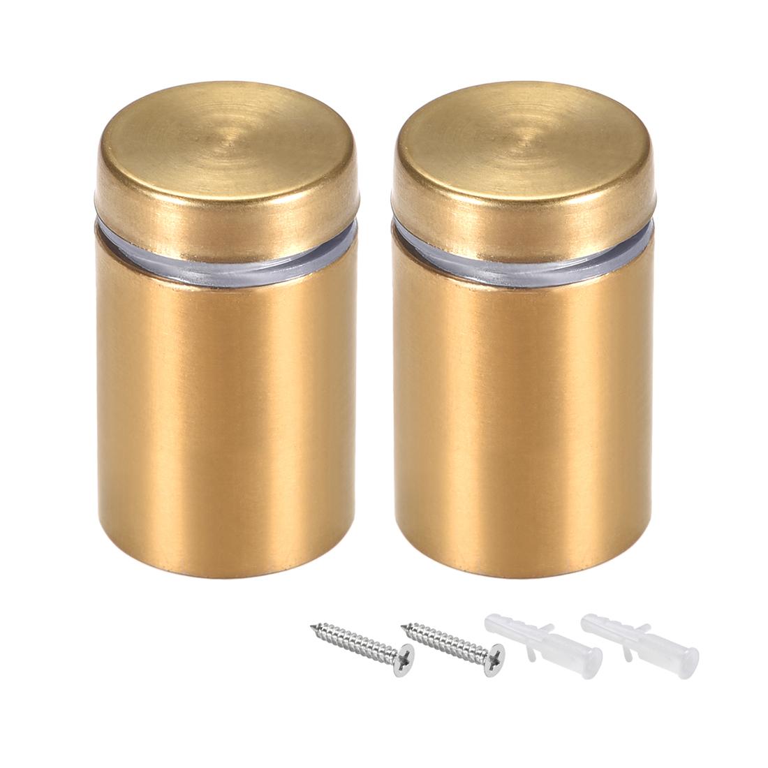 Glass Standoff Mount Wall Standoff Nails 19mm Dia 32mm Length Golden 2 Pcs