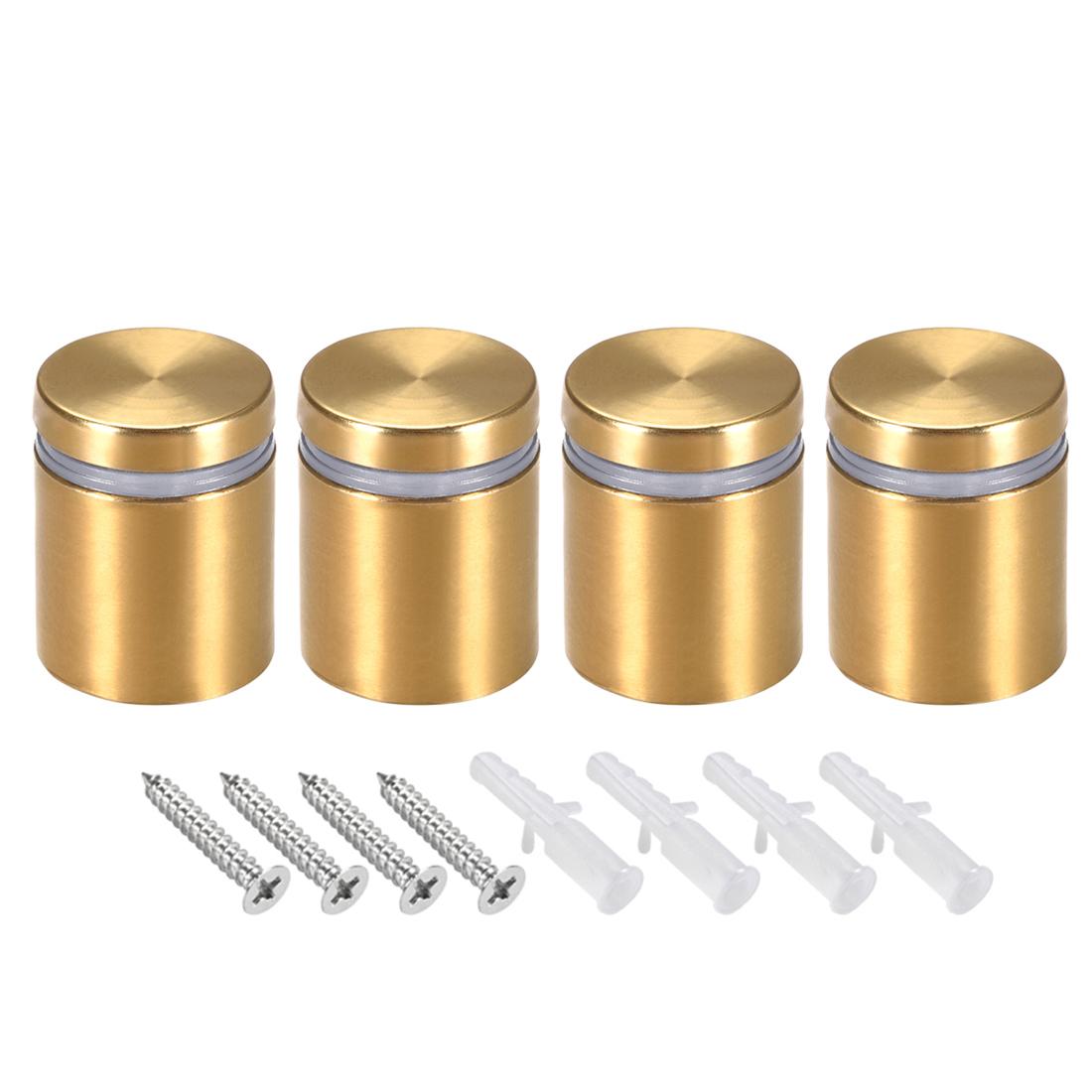 Glass Standoff Mount Wall Standoff Nails 25mm Dia 32mm Length Golden 4 Pcs