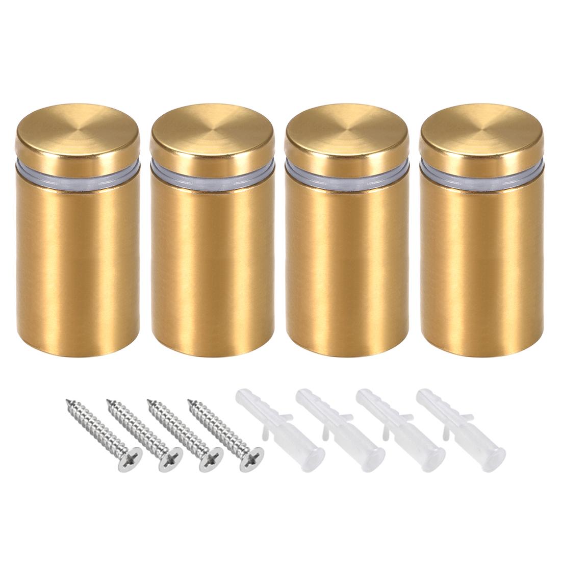 Glass Standoff Mount Wall Standoff Nails 30mm Dia 53mm Length Golden 4 Pcs