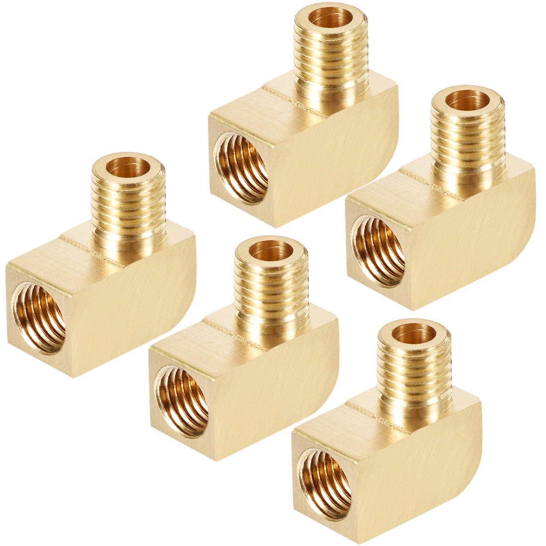 Brass Pipe Fitting 90 Degree Barstock Street Elbow M8 Male x M8 Female Pipe 5pcs