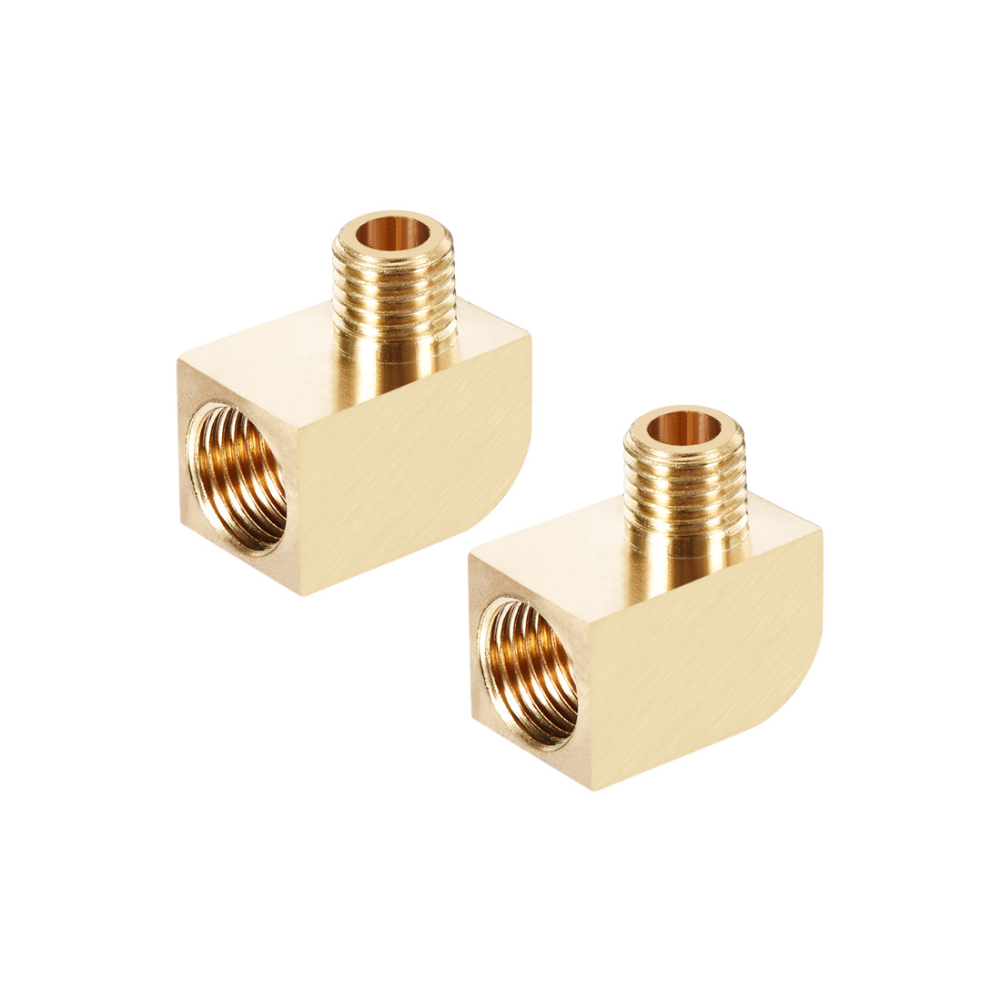 Brass Pipe Fitting 90 Degree Barstock Street Elbow M8 Male xM10 Female Pipe 2pcs
