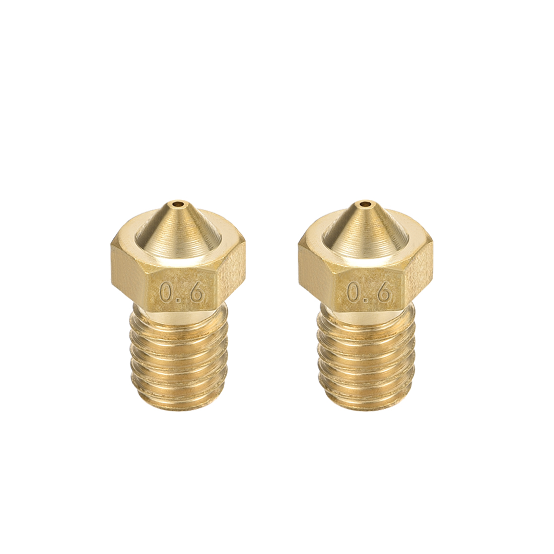 0.6mm 3D Printer Nozzle, Fit for V6, for 1.75mm Filament Brass 2pcs