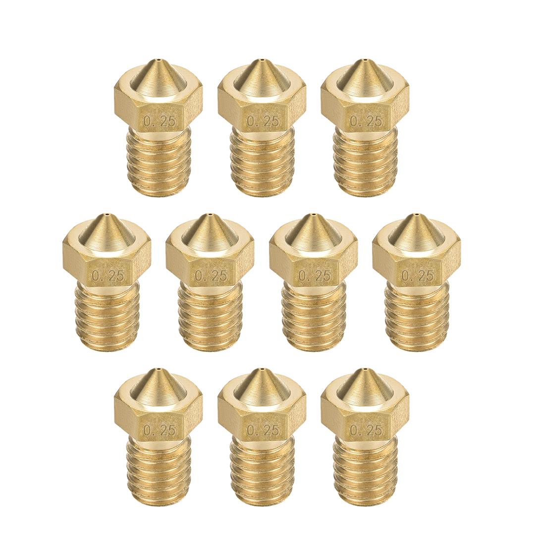 0.25mm 3D Printer Nozzle, Fit for V6, for 1.75mm Filament Brass 10pcs