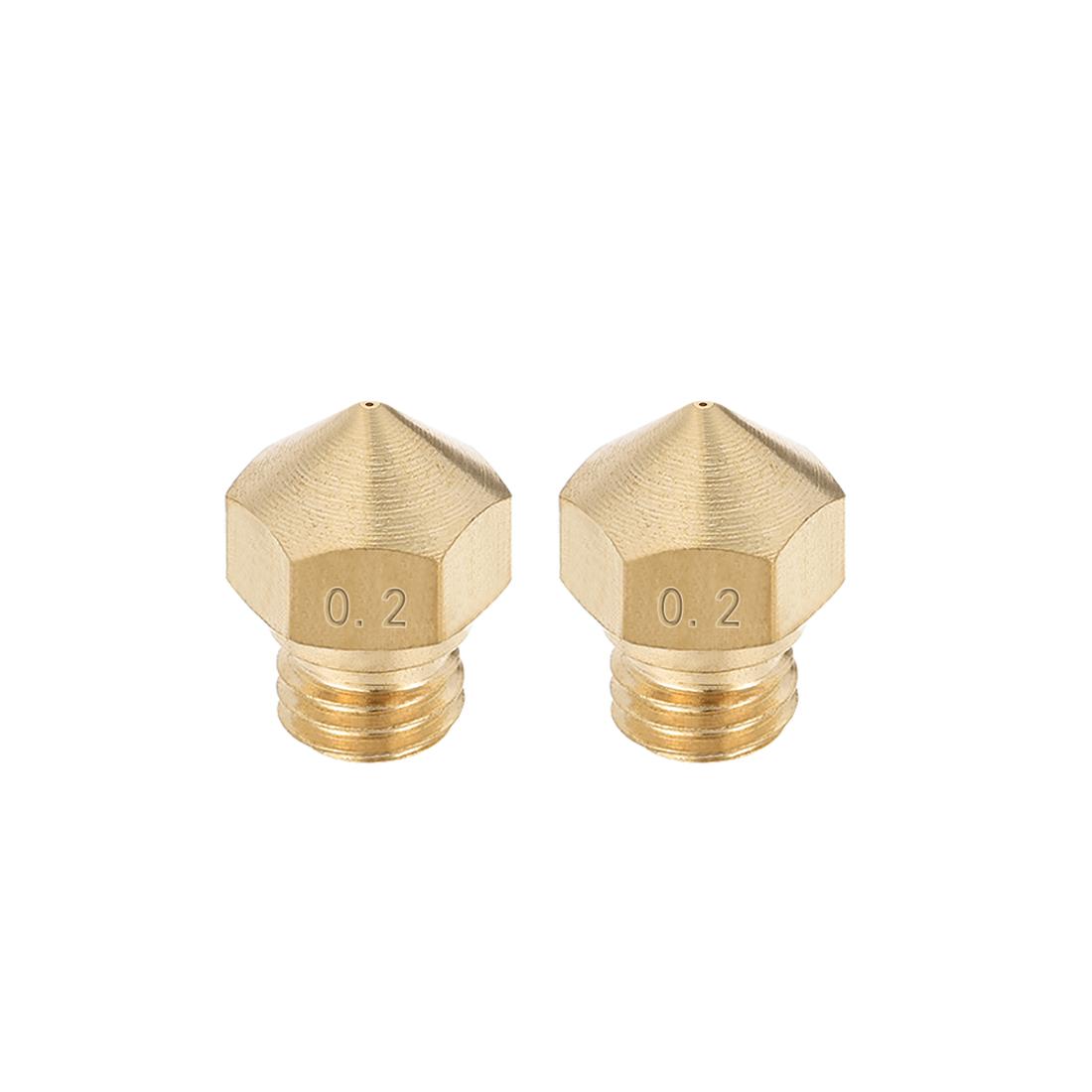 0.2mm 3D Printer Nozzle, Fit for MK10, for 1.75mm Filament Brass 2pcs