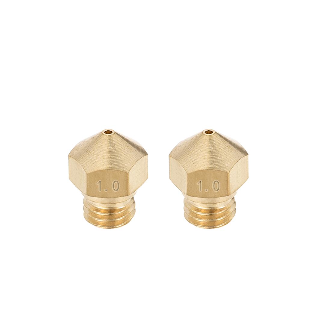 1mm 3D Printer Nozzle, Fit for MK10, for 1.75mm Filament Brass 2pcs