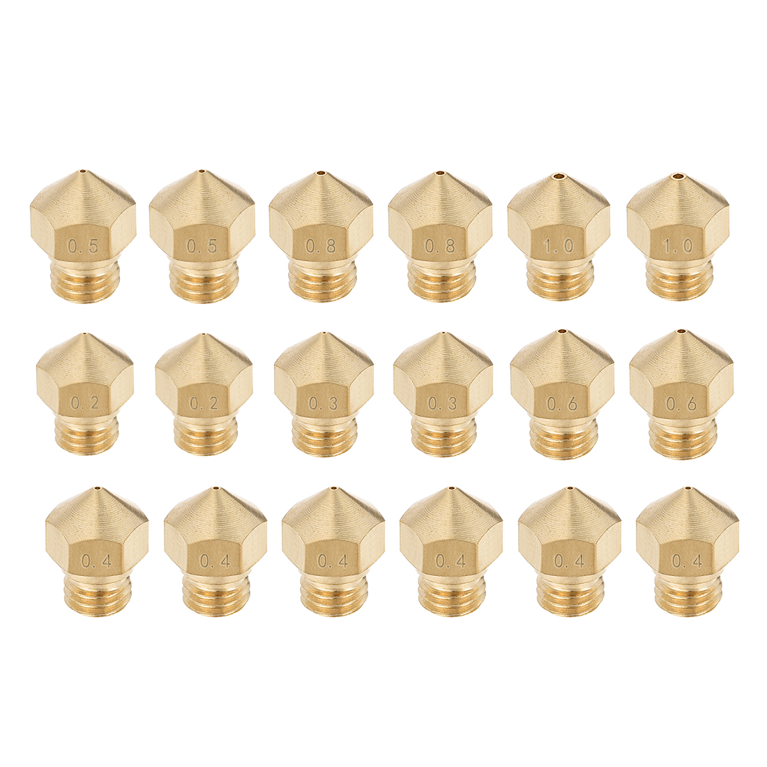 3D Printer Nozzle Fit for MK10,for 1.75mm Filament Brass,0.2mm - 1mm Total 18pcs