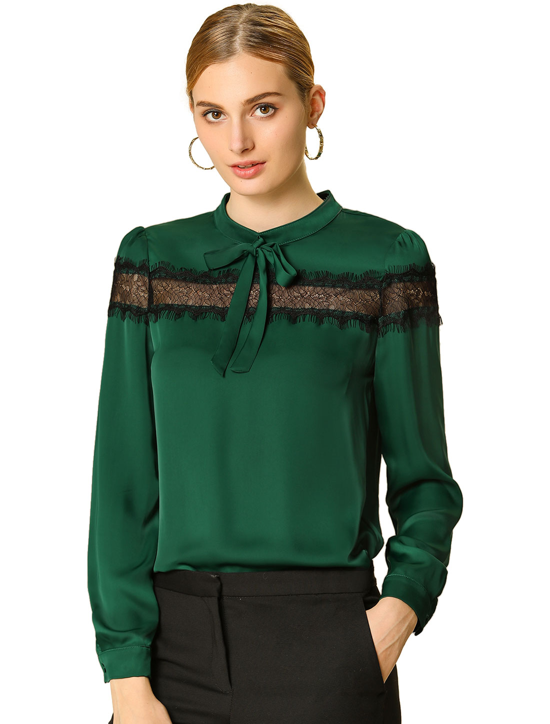 Allegra K Women's Elegant Long Sleeve Tie Neck Shirt Lace Patchwork Top Green M