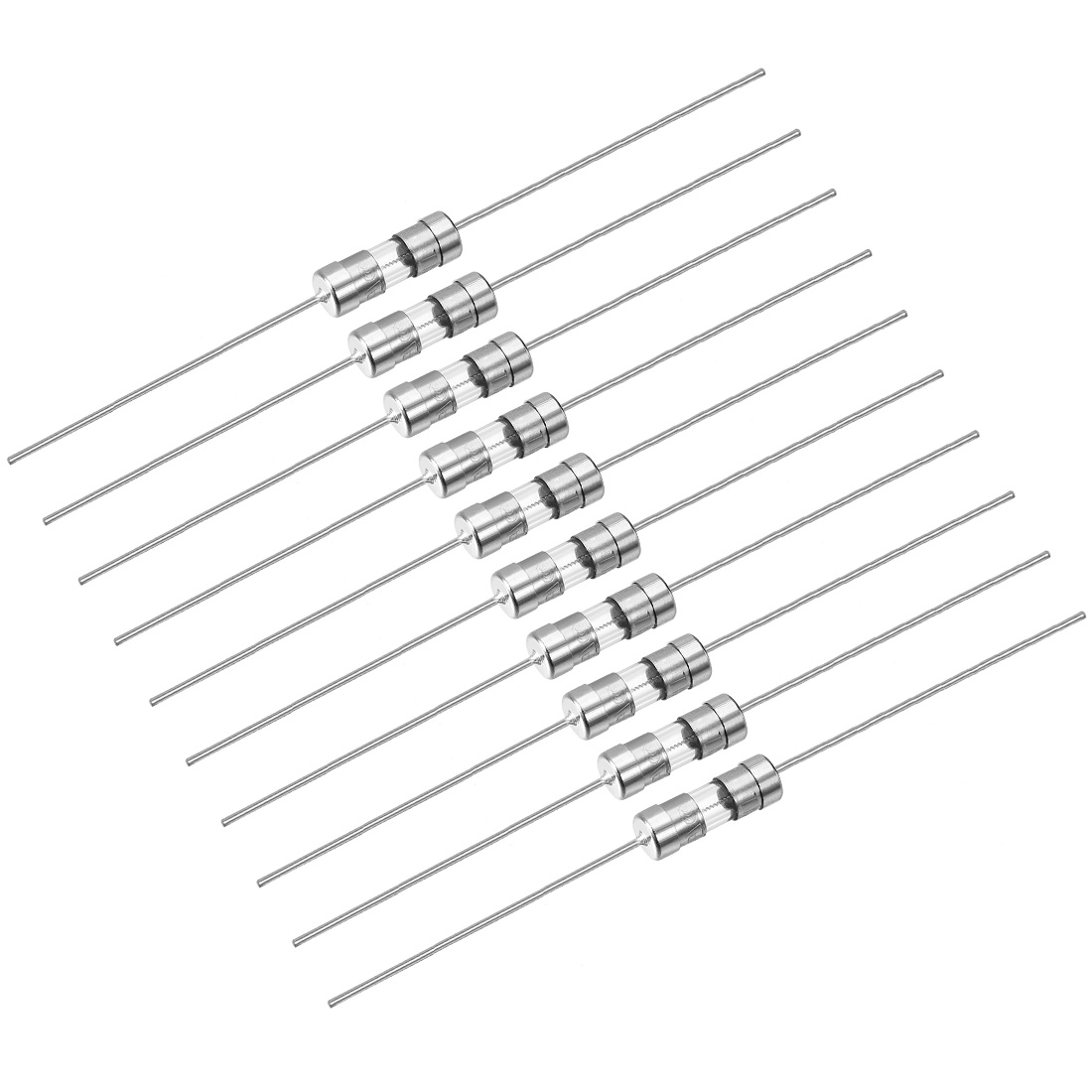Slow Blow Fuse Time Delay Axial Lead Glass Fuses 3.6mm x 10mm 250V T2.5A 10Pcs