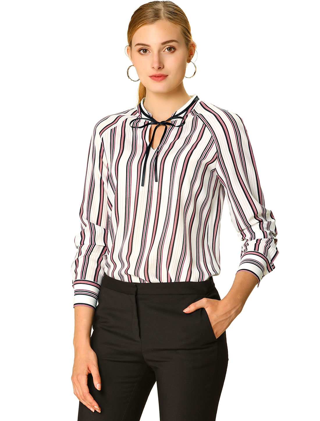 Allegra K Women's Office Blouse Long Sleeve Tie Striped Shirt Pink S