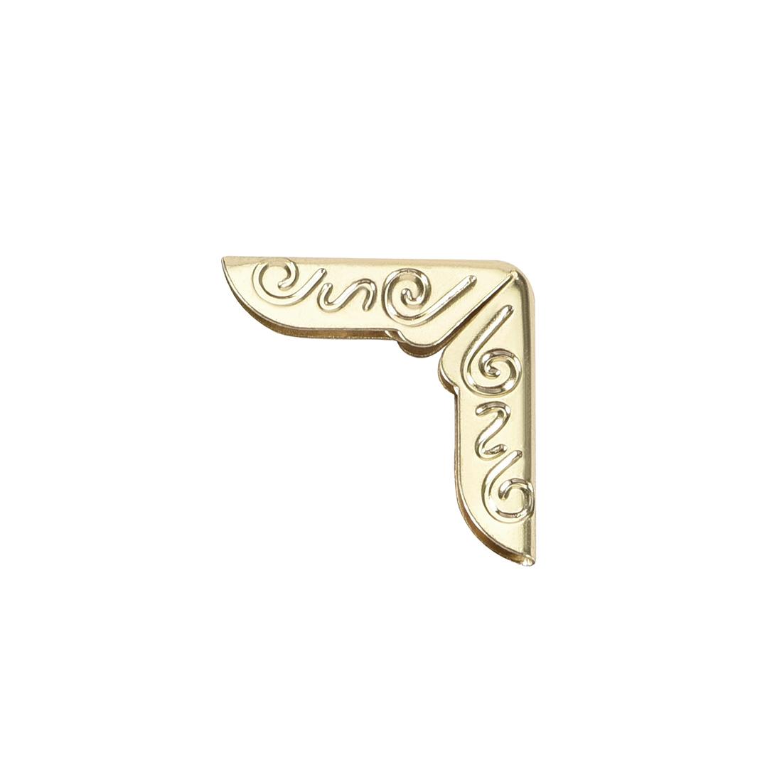 Metal Book Corner Protectors Edge Cover Guard 15 x 15 x 2mm Gold Tone 30pcs