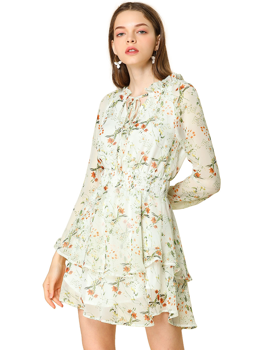 Allegra K Women's Floral Smocked Waist Chiffon Dress White XS