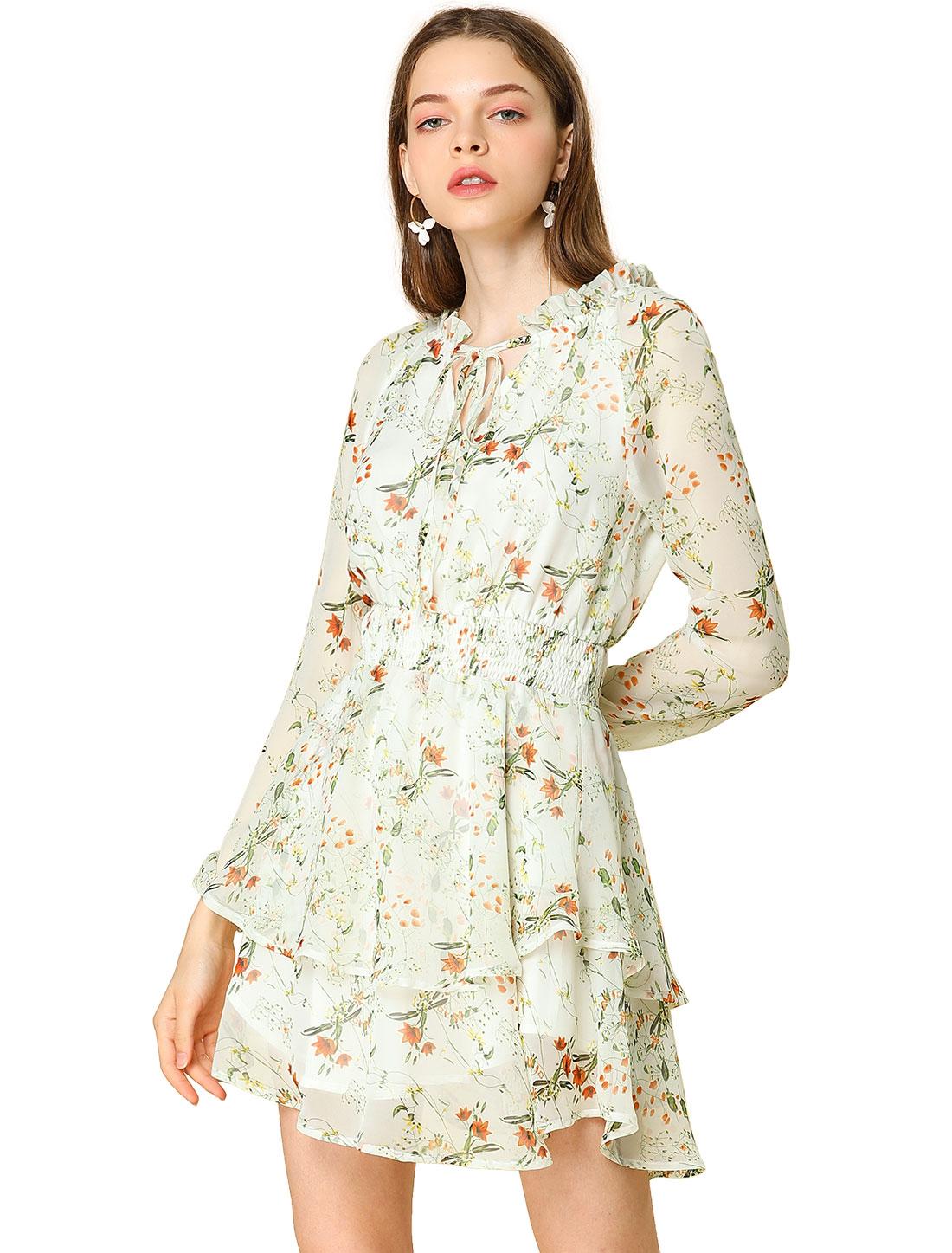 Allegra K Women's Floral Smocked Waist Chiffon Dress White M