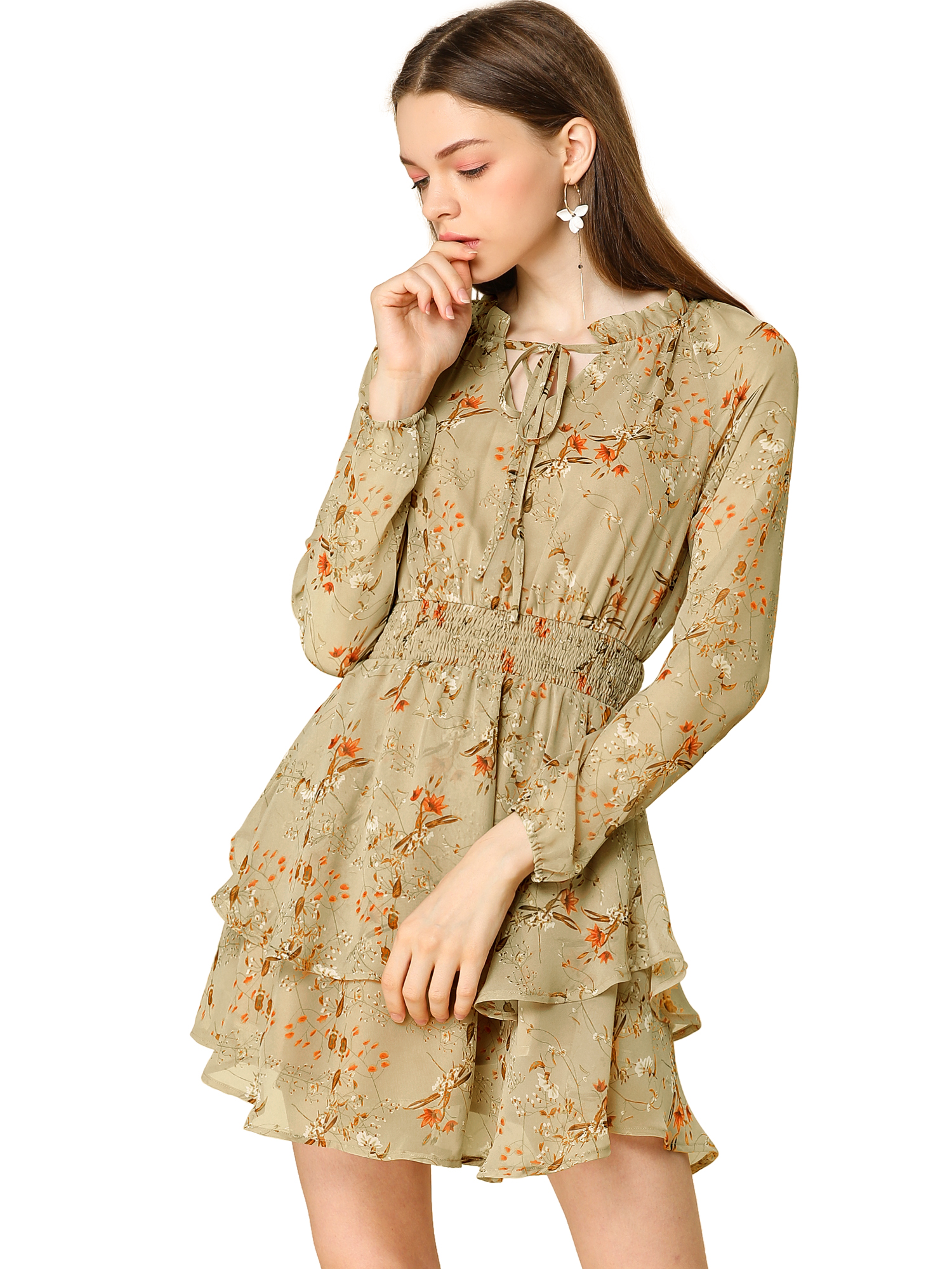 Allegra K Women's Floral Smocked Waist Chiffon Dress Khaki L