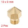 0.8mm 3D Printer Nozzle, Fit for MK10, for 1.75mm Filament Brass 2pcs