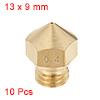 0.4mm 3D Printer Nozzle, Fit for MK10, for 1.75mm Filament Brass 10pcs