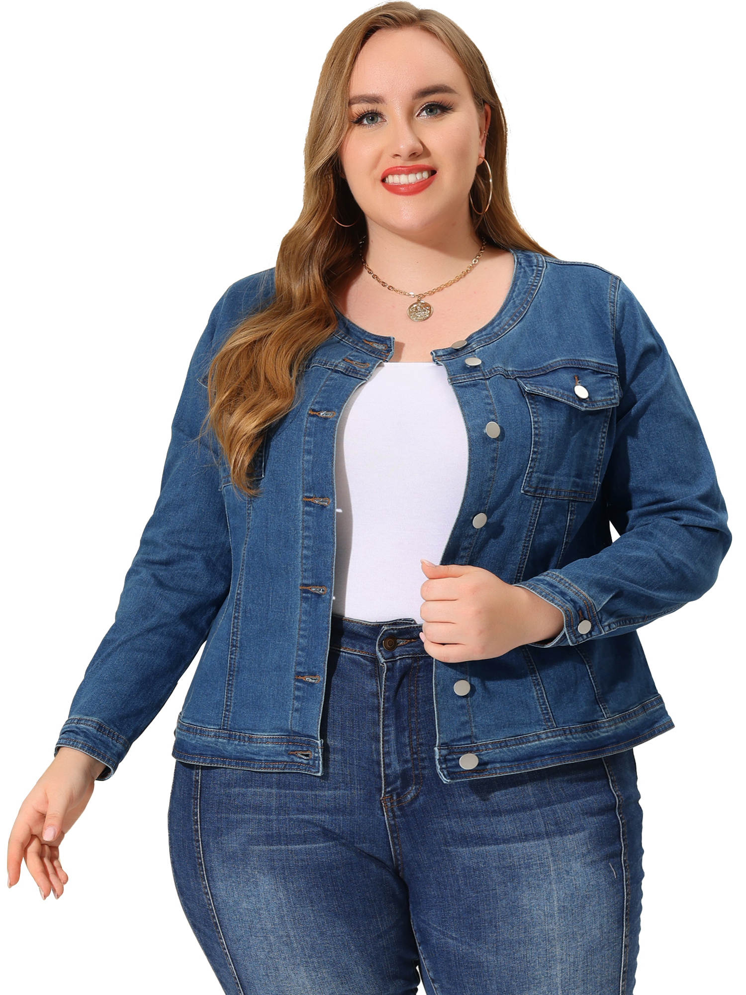 Women's Plus Size Long Sleeves Collarless Denim Jacket Light Blue 2X