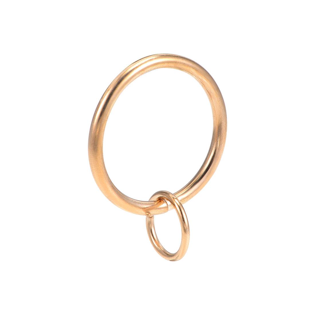 Curtain Rings Metal 32mm Inner Dia Drapery Ring Light Gold Tone 28 Pcs