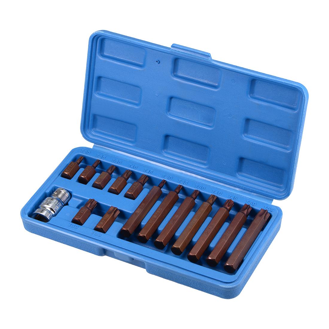 1/2-Inch Drive Socket and Bit Set T20 T25 T30 T40 T45 T50 T55 S2 Steel 15 Pcs