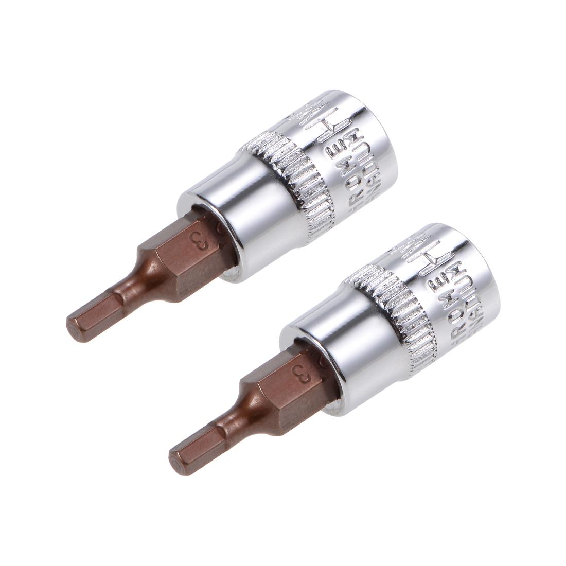 """2 Pcs 1/4"""" Drive x 3mm Hex Bit Socket, Standard Metric, S2 & Cr-V Steel"""