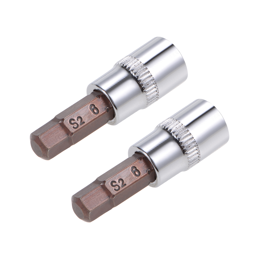 """2 Pcs 1/4"""" Drive x 6mm Hex Bit Socket, Standard Metric, S2 & Cr-V Steel"""