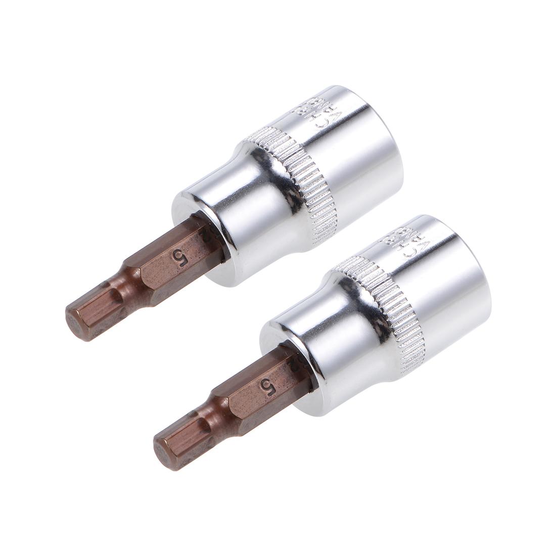 """2 Pcs 3/8"""" Drive x 5mm Hex Bit Socket, Standard Metric, S2 & Cr-V Steel"""