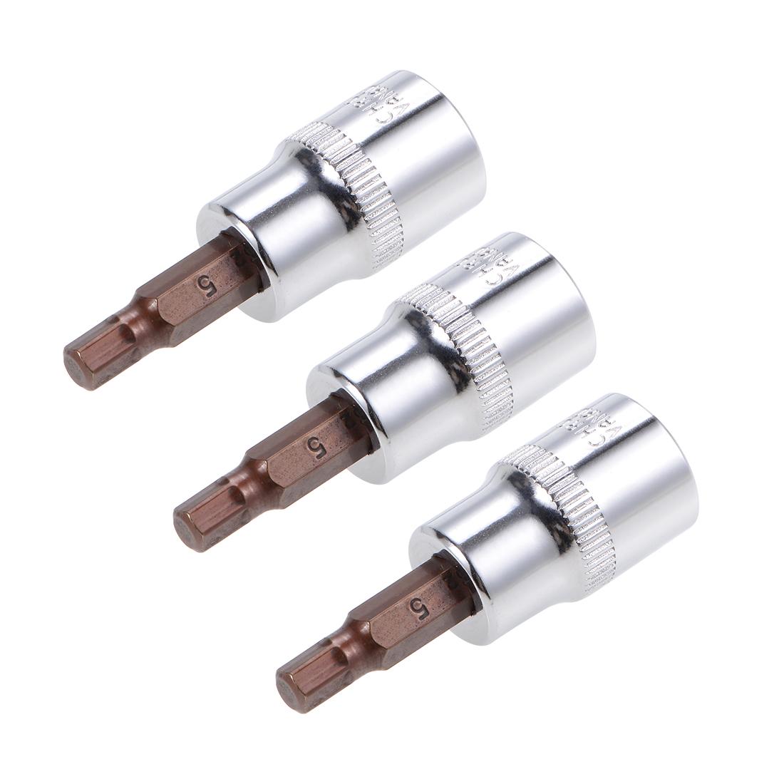 """3 Pcs 3/8"""" Drive x 5mm Hex Bit Socket, Standard Metric, S2 & Cr-V Steel"""