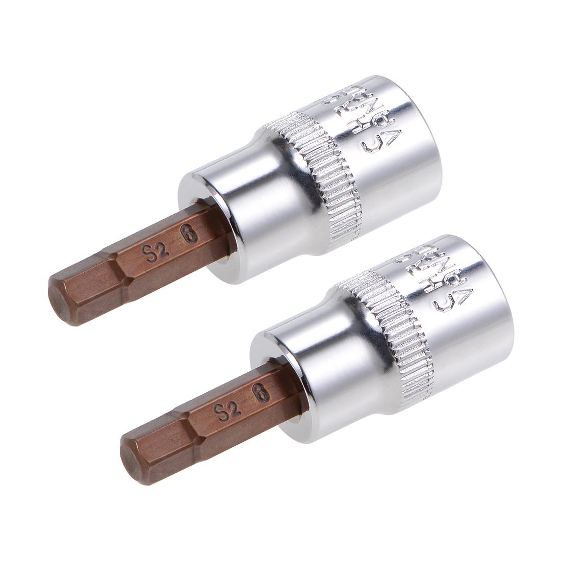 """3/8"""" Drive x 6mm Hex Bit Socket, Standard Metric, S2 & Cr-V Steel"""