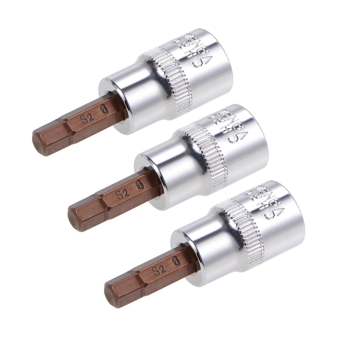 """3 Pcs 3/8"""" Drive x 6mm Hex Bit Socket, Standard Metric, S2 & Cr-V Steel"""
