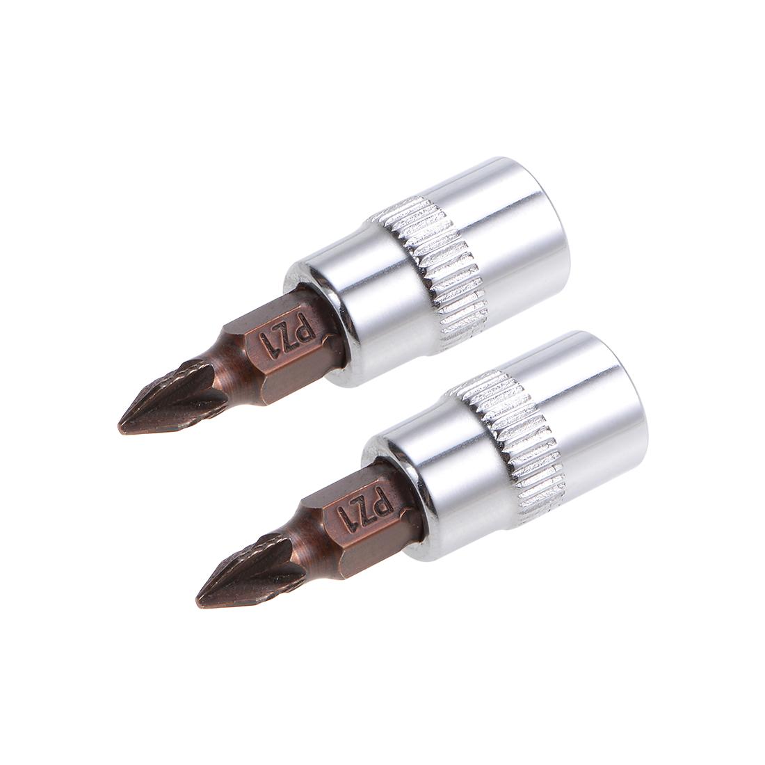 1/4-Inch Drive Bit Socket PZ1 S2 Steel 38mm Length 2 Pcs